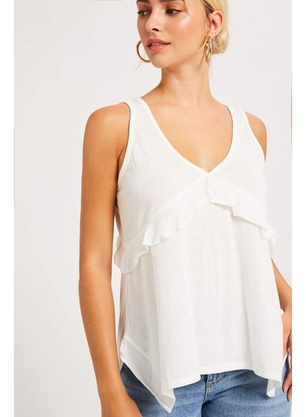 The Liv Ruffle Tank in Ivory