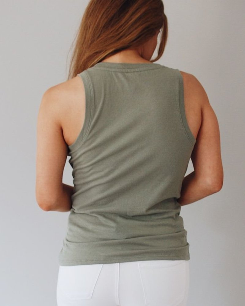 Z Supply Twist Front Tank in Black + Sage