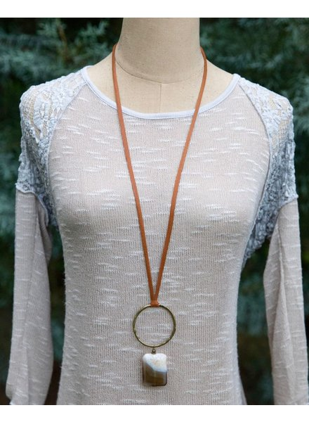 Suede Cord with Circle + Stone Pendant
