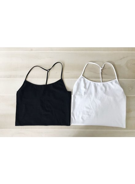 NikiBiki Skinny Y-Back Camisole in Black + White + Stone