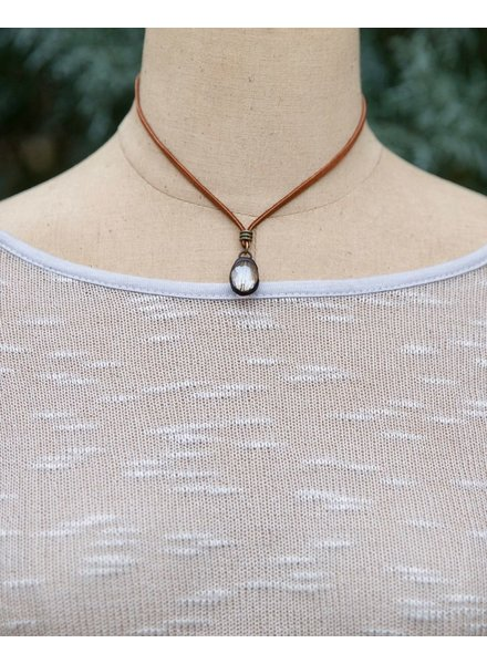 Leather Cord with Small Crystal Pendant