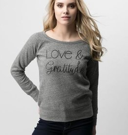 AUTHENTIC BRAVE APPAREL LOVE & GRATITUDE GREY SWEATSHIRT