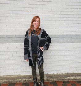 MOTION PLAID BLK/WHT HOODED CARDIGAN