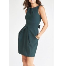 APRICOT PLEATED FITTED DRESS w/TIE BACK