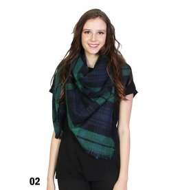 GRAND INT'L PLAID FRINGE BLANKET SCARF