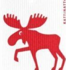 KATTINATT DISHCLOTHS - MORE DESIGNS MOOSE RED