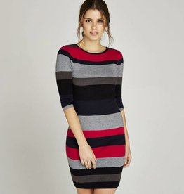 APRICOT COLOR BLOCK STRIPE FITTED DRESS
