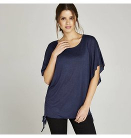 APRICOT BATWING SLV DRAWSTRING SIDE TOP