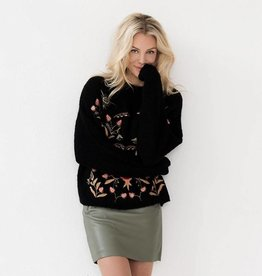 ESQUALO EMBROIDERED WOOL BLEND SWEATER