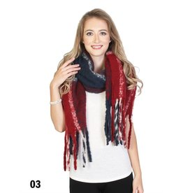 GRAND INT'L PLAID BLANKET SCARF w/STRIPES