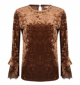 ESQUALO VELVET TOP w/LACE DETAIL SLV