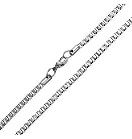 STERLING SILVER BOX ANKLET - 9""