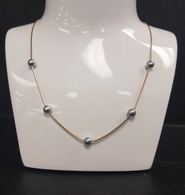 STERLING SILVER GOLD PLATED PEARL NECKLACE