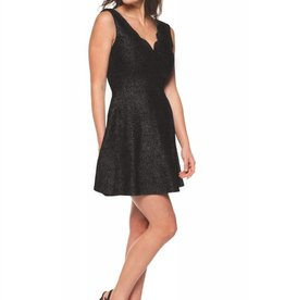 DEX SCALLOPED NECKLINE FIT AND FLARE DRESS