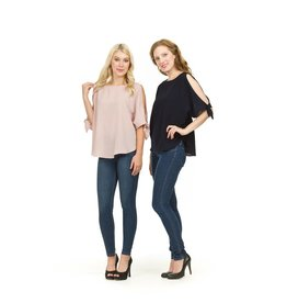 PAPILLON NAVY S/SLV COLD SHOULDER BLOUSE