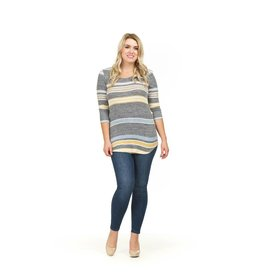 PAPILLON 3/4 SLV SOFT STRIPED TOP