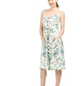 PAPILLON SPAGHETTI STRAP FAUX BUTTON FRONT DRESS