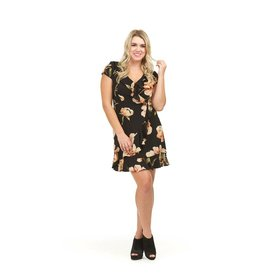 PAPILLON FLORAL FAUX WRAP DRESS w/RUFFLE DETAIL