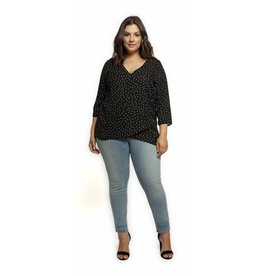 BLK POLKA DOT FAUX WRAP TOP
