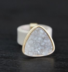 BY CHANCE LEATHER BAND DRUZY STONE RINGS