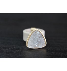 LEATHER BAND DRUZY STONE RINGS