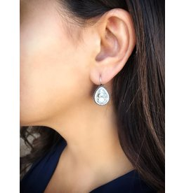 FRENCH HOOK CZ SILVER EARRINGS
