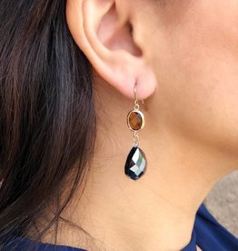 BY CHANCE GOLD w/BLACK STONE DANGLE EARRING