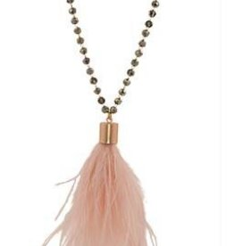 BY CHANCE BEADED OSTRICH FEATHER NECKLACE