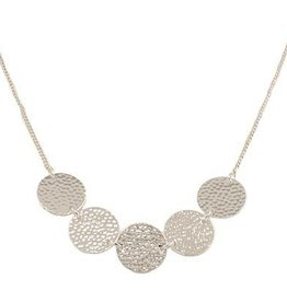 BY CHANCE SHORT SILVER HAMMERED CIRCLE NECKLACE