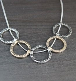 BY CHANCE SHORT GUNMETAL CIRCLE NECKLACE