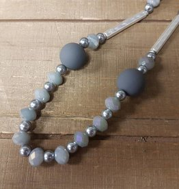 BY CHANCE LONG ADJ. GREY BEADED NECKLACE