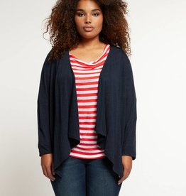 DEX L/S WATERFALL FRONT CARDIGAN w/EMBROIDERED BACK