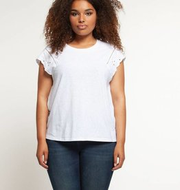 DEX EMBROIDERED CAP SLEEVE TOP