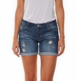 DEX DESTRUCTED INDIGO ROLL UP DENIM SHORT