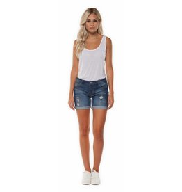 DESTRUCTED INDIGO ROLL UP DENIM SHORT