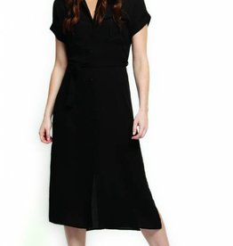 BLACK TAPE SAFARI DRESS w/SASH AND PATCH POCKETS