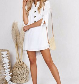 LOST IN LUNAR IZZIE WHITE SHIRT DRESS