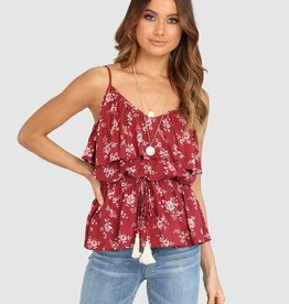 LOST IN LUNAR TAMARA TERRACOTTA RUFFLE TOP