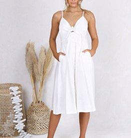 LOST IN LUNAR SAMANTHA WHITE BUTTON FRONT DRESS