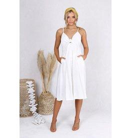SAMANTHA WHITE BUTTON FRONT DRESS