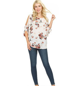 PAPILLON FLORAL COLD SHOULDER PONCHO BLOUSE