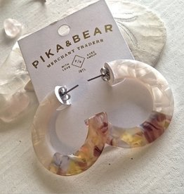 PIKA & BEAR MOD ACETATE HOOP EARRINGS 4cm