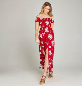 APRICOT BARDOT MAXI DRESS