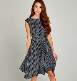 APRICOT TIE FRONT CAP SLEEVE DRESS