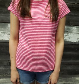 POINT ZERO FUSHIA STRIPED T-SHIRT