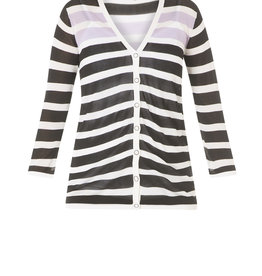 YEST STRIPED CARDIGAN w/BUTTON FRONT