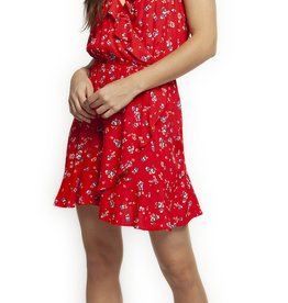 DEX RUFFLE FAUX CROSS OVER DRESS