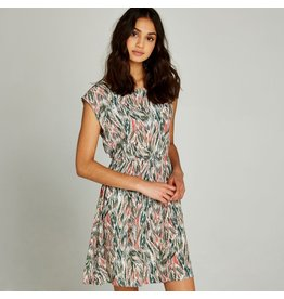 APRICOT ABSTRACT FEATHER DRESS