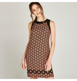 APRICOT FLORAL DOTTED SHIFT DRESS