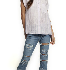 DEX ROLL-TAB BUTTON FRONT BLOUSE